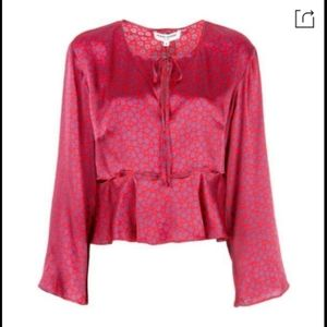 Opening Ceremony Statement Cropped Silk Blouse